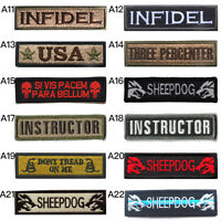 Embroidered INFIDEL USA Army Military Tactical Morale Hook Loop Tab Patch Badge
