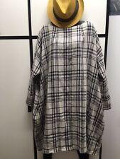 Veritecoeur Japan OS Linen INK NATURAL Combo Check BATEAU NECK DRESS