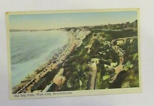 Zig Zag Path, West Cliff, Bournemouth. Old Postcard