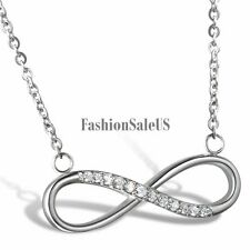Women Stainless Steel Cubic Zirconia Love Infinity Symbol Charm Pendant Necklace