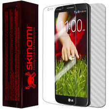 Skinomi Carbon Fiber Silver Skin+Clear Screen Protector for LG G2 Verizon Only