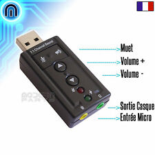 Carte Son USB Externe, Son Audio 3D, 7.1 Virtuel, Prise Micro + Volume