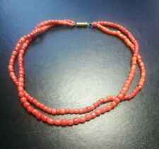 ANTIQUE FACETED CORAL DOUBLE STRAND BEAD NECKLACE