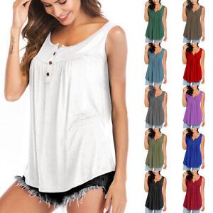 Summer Ladies Loose Button Swing Vest Top Basic Sleeveless Womens Cami Tank Tee