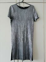 GEORGE WOMENS SILVER SHINY TUNIC BLOUSE LONG TOP SIZE 12 SHORT SLEEVE LENGTH 33