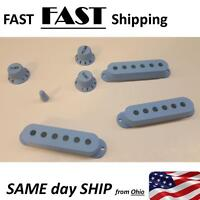Sky Blue Guitar Pickup Cover and Knobs Switch Tip Set - FAST SHIP