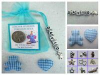 PERSONALISED LUCKY FIRST SIXPENCE 1st BIRTHDAY BOY GOOD LUCK CHARM TEDDY BEAR  .