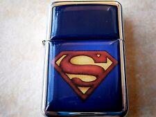 SUPERMAN SUPERHERO BLUE COMIC STAR BRAND LIGHTER STEEL & EXTRA ZIPPO FLINTS