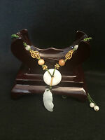 Handmade Ladies Oriental Chinese White Jade Flower Adjustable Necklace jneck8
