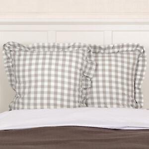 VHC Brands Farmhouse Euro Sham White Annie Buffalo Check Cotton Bedroom Decor
