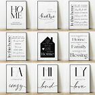 Home And Family Art Prints Posters Wall Decor Modern Style Minimalism Typography