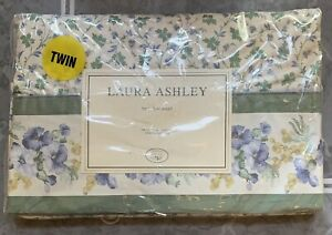 Laura Ashley Josephine Twin Flat Sheet Green Floral Vintage New Old Stock