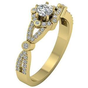 Halo Solitaire Engagement I1 G 0.65 Ct Round Diamond Ring Yellow Gold Appraisal