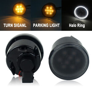 LED Amber Turn Signal Light for Jeep Wrangler JK 07-17 Halo Ring DRL Smoke Lens