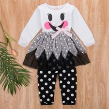 NEW Halloween Ghost Tunic Dress Leggings Girls Outfit Set 2T 3T 4T 5T 6