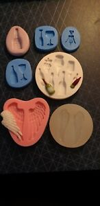 Glass, silicone mould, wax melts, bath bombs, soap,fimo clay,Wine & Angel Wings