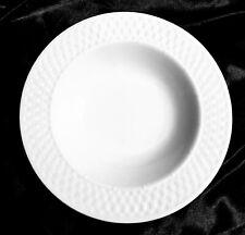 4 Beautiful Wide Rim Soup Bowls by Oneida Wicker White Basket Weave Mint