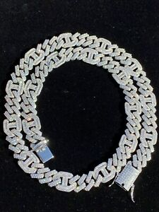 Solid 925 Silver Mens Figarucci Gucci Link Prong Cuban Chain Baguette Diamonds