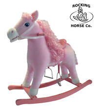 NEW Plush PINK ROCKING HORSE with Saddle Bridle & Sounds Wooden Rockers Age 1+