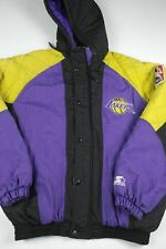 Vintage Starter Los Angeles Lakers Jacket Mens Size L NBA Official Heavy Hooded