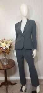 TAHARI ASL PETITE Grey Stripe 2-Piece Business/Career Pant Suit-Size 4P/6P