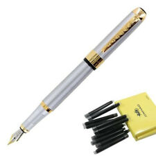 Jinhao 250 Stainless Steel Gold Trim Fountain Pen + 10Pcs Black Ink Refills Set