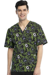 Monsters Inc Cherokee Scrubs Tooniforms Disney Unisex V Neck Top TF606 MCYO