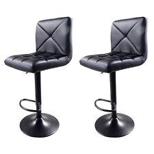 Set of 2 Black PU Leather Modern Adjustable Swivel Hydraulic Chair Bar Stools US