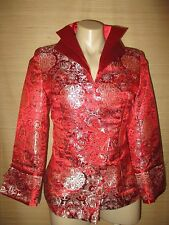 RED floral chinese boho  jacket   size Small