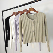 Classic Women's Crew Neck Casual Crop Cardigan Striped Knitted Coat Size 8 10 12