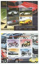 PAIR OF JAPANESE CARS & MOTORCYCLES MERCEDES BENZ MNH STAMP SHEETLETS