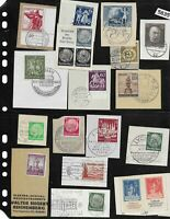 #5835   Cancelled Postage stamp collection on paper / Third Reich era Germany