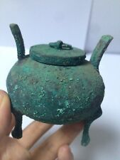 Unique Ancient Chinese Rust Blue Bronze Three-legged Tripod Incense Burners NO.1