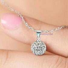 Fashion Women's 925 Sterling Silver chain crystal rhinestone Necklace Pendant GA
