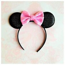 Black and Light pink Minnie Mouse inspired headband,first birthday