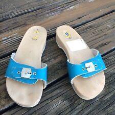 Vtg Dr Scholls Aqua Blue Wood Leather Sandals Sz 6 Slip On Womens Shoes 70s 80s
