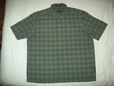 DKNY Grey Black White Check Short Sleeved Cotton Shirt size L