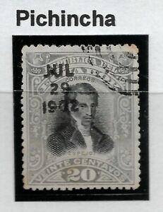 STAMPS-ECUADOR-GUAYAQUIL FIRE Stamp. 1901. 20c. Pichincha Control H/Stamp