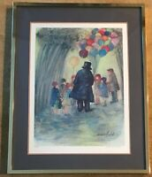 "BARBARA WOOD Signed Numbered Limited Edition Lithograph ""Balloon Man"" 59 of 450"