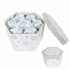 Silver Snowflake Baubles Set of 14. Christmas Bauble Gift Box