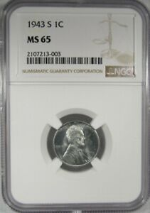 1943-S NGC MS65 Steel Wheat Cent Certified Coin AK27