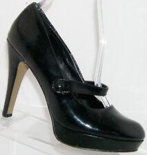 Studio Paolo 'Yale' black round toe man made mary jane platform heels 6M