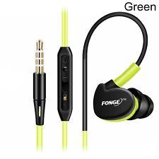 Fonge 3.5mm Sweatproof Headset Sport HIFI Earphone Hook Headphone With Mic Green