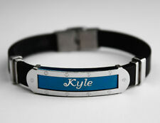KYLE - Mens Silicone & Blue Name Plate Engraved Bracelet - Fathers Day Gifts