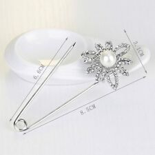 Wedding Bridal Pearl Daisy Flower Kilt Pin Scarf Clothes Shawl Brooch Safety Pin
