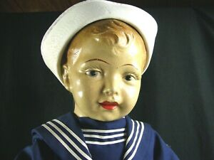 "Antique Doll Large Life Size Composition Toddler Vintage US Navy Sailor Doll 31"""