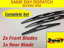 RENAULT CLIO MK2 & CAMPUS 98-09 FRONT REAR WINDSCREEN WIPER BLADES COMPLETE SET