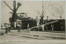 Brésil 1912 German SEA POST XLI annuler Santos photo carte postale du Portugal