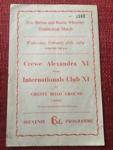 Crewe Alexandra v Internationals XI Barnes / Wheatley Testimonial 26/2/1964