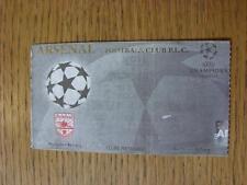 21/10/1998: BIGLIETTO A Wembley-Arsenal V Dinamo Kiev Coppa dei Campioni [] (contrassegnato, Ve